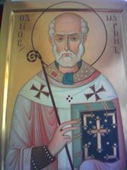 St. Martin as a bishop: modern icon in the chapel of the Eastern Orthodox Monastery of the Theotokos and St Martin, Cantauque, Provence.