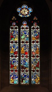 Virtues fighting Vices - 14th Century window